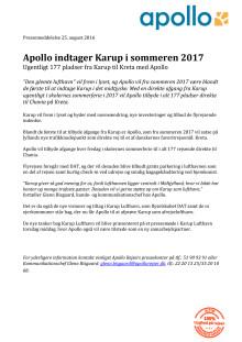 Apollo indtager Karup i sommeren 2017