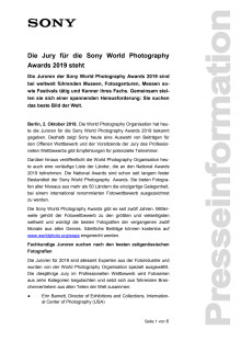 Die Jury für die Sony World Photography Awards 2019 steht
