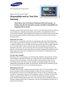 Galaxy Note 10.1 snart i butik:  Skaparglädje med ny Note från Samsung