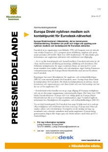 Europa Direkt nybliven medlem och kontaktpunkt för Eurodesk-nätverket