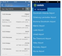 Alla flygplatser i en app från Swedavia