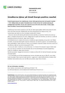 Umeåborna tjänar på Umeå Energis positiva resultat