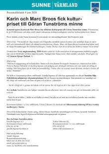Karin och Marc Broos fick kulturpriset till Göran Tunströms minne