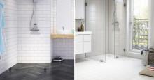 Se golvbrunnen som en nästan osynlig del i badrummet