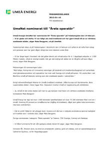 """UmeNet nominerat till """"Årets operatör"""""""