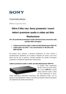 Oltre il Blu-ray: Sony presenta i nuovi lettori premium audio e video ad Alta Risoluzione