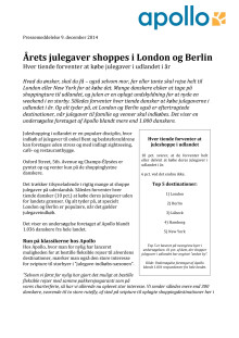 Årets julegaver shoppes i London og Berlin