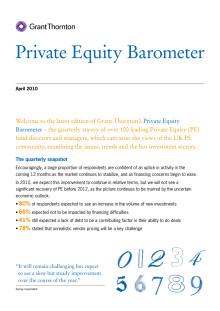 Grant Thornton UK: Private Equity Barometer April 2010