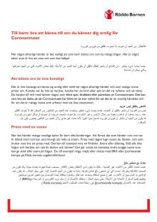 Arabiska, riktat mot barn: bra att känna till om du känner dig orolig för Coronaviruset