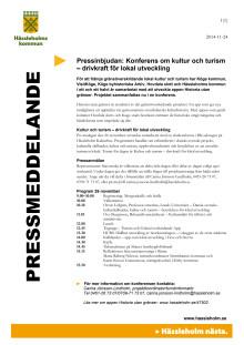 Pressinbjudan: Konferens om kultur och turism – drivkraft för lokal utveckling
