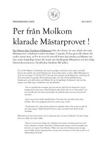 Per från Molkom klarade Mästarprovet!