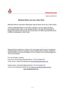 Mitsubishi Motors drar sig ur Dakar Rallyt