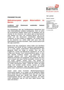 Maßnahmenpaket gegen Motorradlärm im Barnim