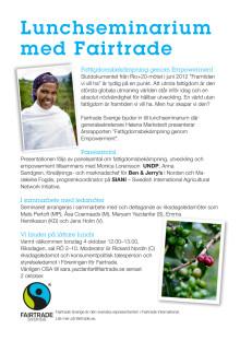 Inbjudan Fattigdomsbekämpning genom Empowerment - Lunchseminarium med Fairtrade i riksdageni Riksdagen