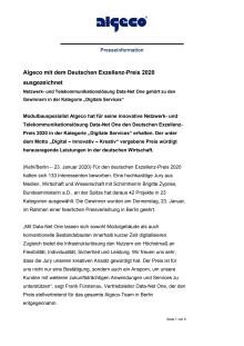 Algeco mit dem Deutschen Exzellenz-Preis 2020 ausgezeichnet