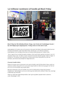 1,2 millioner nordmenn vil handle på Black Friday