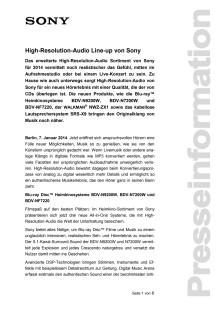 High-Resolution-Audio Line-up von Sony