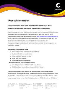 congstar Allnet Flat M mit 10 GB im LTE-Netz für 19,50 Euro pro Monat