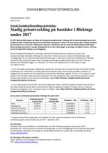 Svensk Fastighetsförmedlings årskrönika: Stadig prisutveckling på bostäder i Blekinge under 2017