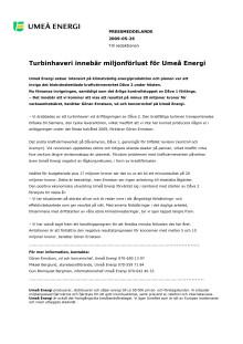Turbinhaveri innebär miljonförlust för Umeå Energi