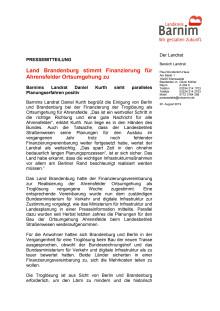 Land Brandenburg stimmt Finanzierung für Ahrensfelder Ortsumgehung zu