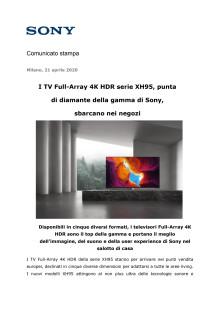 I TV Full-Array 4K HDR serie XH95, punta di diamante della gamma di Sony, sbarcano nei negozi