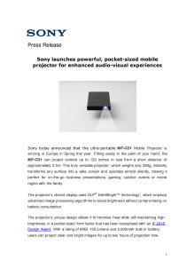 Sony lanserer mobilprosjektor i lommeformat