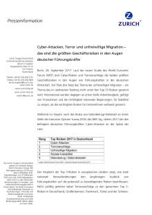 Cyber-Attacken, Terror und unfreiwillige Migration – das sind die größten Geschäftsrisiken in den Augen deutscher Führungskräfte