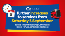 Further increases to services from Saturday 5 September