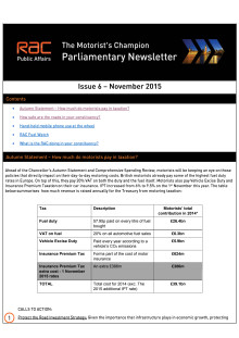 RAC Parliamentary Newsletter #6 - November 2015