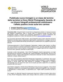Pubblicate nuove immagini a un mese dal termine delle iscrizioni ai Sony World Photography Awards, di cui diversi fotografi professionisti sottolineano l'effetto positivo avuto sulla loro carriera