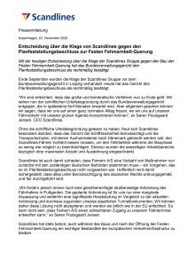 Entscheidung über die Klage von Scandlines gegen den Planfeststellungsbeschluss zur Festen Fehmarnbelt-Querung