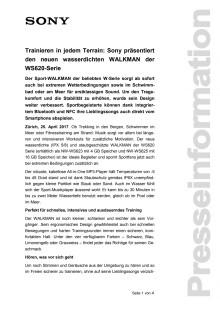 Trainieren in jedem Terrain: Sony präsentiert den neuen wasserdichten WALKMAN der WS620-Serie