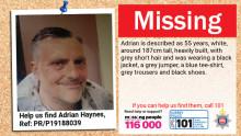 Appeal for help in finding missing man Adrian Haynes