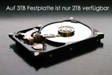 Wie wird gelöst: Auf einer 3TB Festplatte ist nur 2TB verfügbar