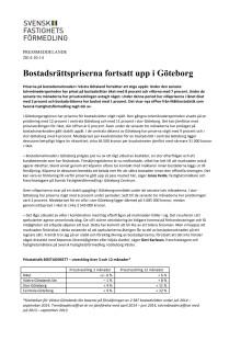 Bostadsrättspriserna fortsatt upp i Göteborg