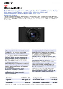 Datenblatt DSC-WX500B von Sony