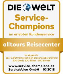 Dauerspitze - Kunden bescheinigen alltours Reisecenter beste Servicequalität