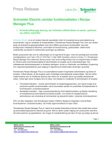 Schneider Electris udvider funktionaliteten i Recipe Manager Plus