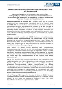 Viessmann und Euro-Log optimieren Logistikprozesse für Heiz- und Kältetechniker