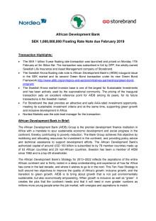 AfDB - SEK 5y floating rate Green Bond - press release