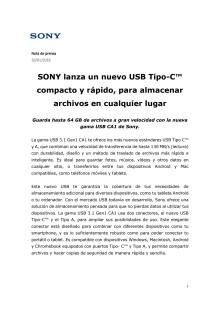 SONY lanza un nuevo USB Tipo-C™ compacto y rápido, para almacenar archivos en cualquier lugar