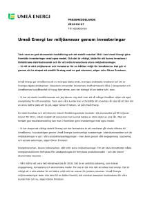 Umeå Energi tar miljöansvar genom investeringar