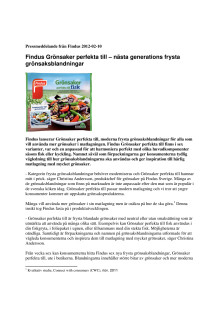 Findus Grönsaker perfekta till - nästa generations frysta grönsaksblandningar