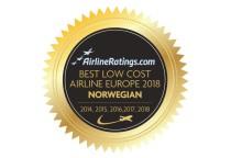 AirlineRatings décerne le prix de « Meilleure compagnie low-cost en Europe » à Norwegian  pour la cinquième année consécutive