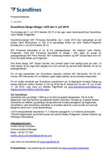 Scandlines-færge tilbage i drift den 2. juli 2015