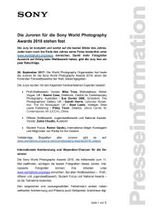 Die Juroren für die Sony World Photography Awards 2018 stehen fest