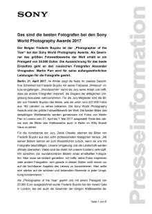 Das sind die besten Fotografen bei den Sony World Photography Awards 2017