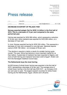 Decrease in export of pelagic fish