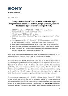 Sony presenterer RX100 VI med 24-200mm-objektiv og verdens raskeste autofokus